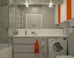 BETONOWA ŁAZIENKA Z ORANGE AKCENTEM - Mała łazienka na poddaszu w bloku bez okna, styl nowoczesny - zdjęcie od Dizajnia art - studio projektowe