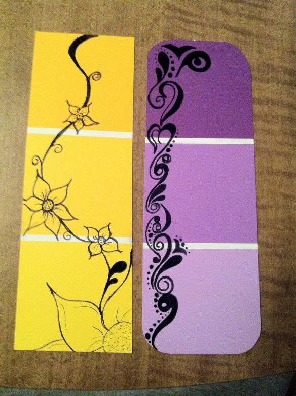 DIY doodle bookmarks for Karen's Zentangle and Home Depot's paint chip cards!