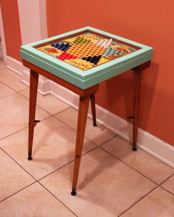 Beau CHINESE CHECKERS TABLE   Mid Century Modern Side Table With Vintage Game  Board And Marbles, Sea Foam Green Color (c. 1960s)