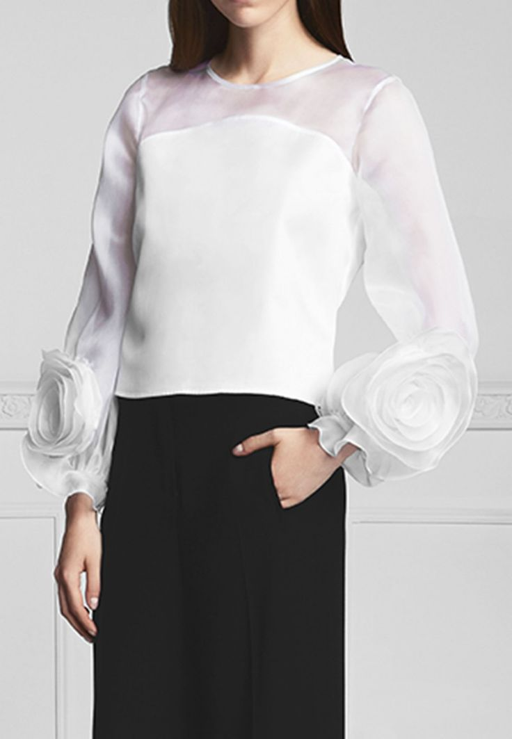 Long Puff Flower Sleeve Blouse: Spring | Anne Fontaine