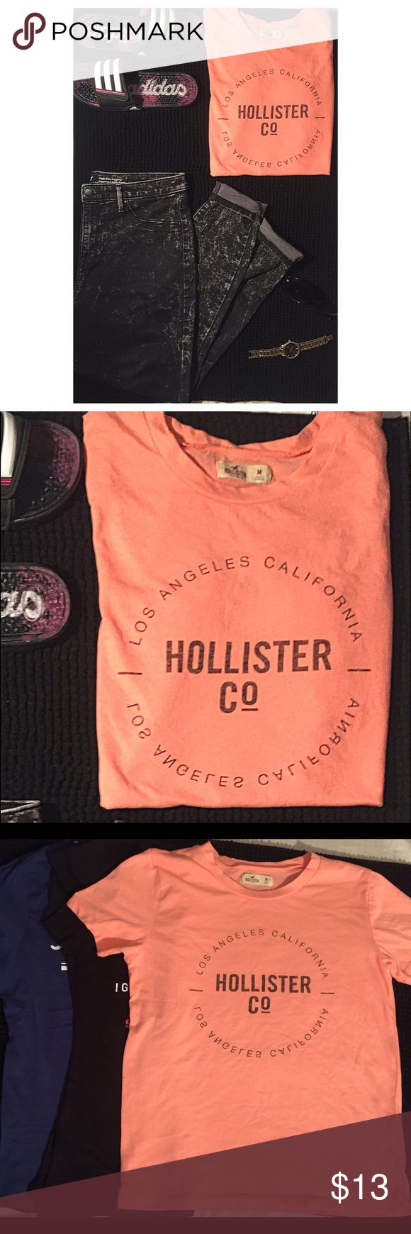 Hollister Tshirt This is a Hollister t-shirt. New without tags. Cotton breathable fabric. Short sleeved and size medium. New without tags. 😎 Tops Tees - Short Sleeve