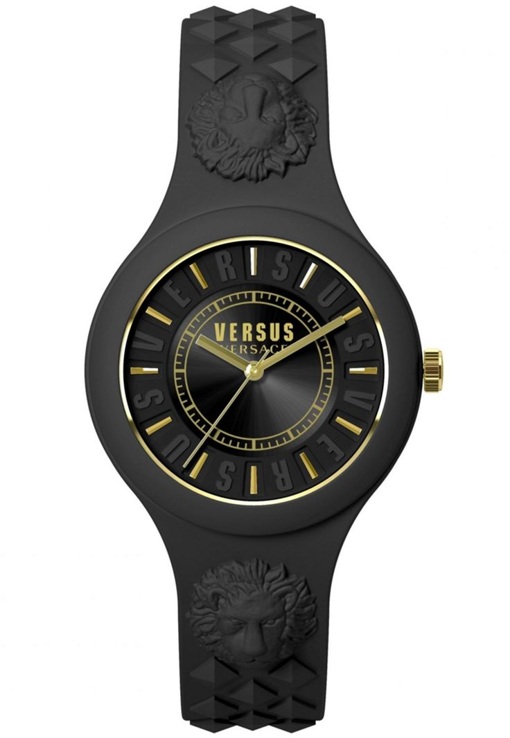 Versus Versace Fire Island Watch in black/gold.  Versus Versace's classic Fire Island Watch is made with a Japanese Quartz movement that is held within a black rubber case and strap with moulded studs and lion head detail.  The black dial is edged with 'Versus' branding with gold lines to mark the hours as well as Versus Versace branding.