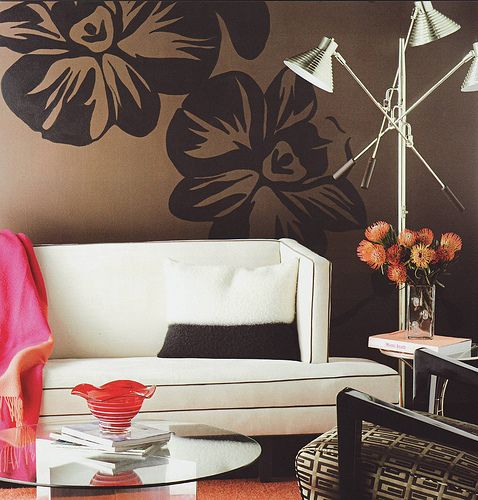 Living Room      Google Image Result for http://cdn.decorpad.com/photos/2009/04/24/5e61f185d926.jpg: Living Rooms, Black Flower, Wall Flower, Chocolates Brown, Paintings Wall, Wall Paintings Color, Floors Lamps, Brown Wall, Modern Retro