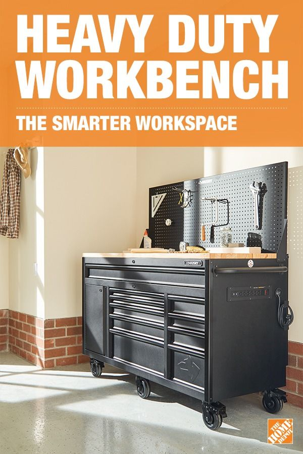 Give Dad the gift of superior storage with the Husky Heavy Duty Workbench with pegboard. The rolling tool bench stores all your tools and the wood-top work area make completing any project a breeze, especially with the 6-outlet power center. Best of all, it can even be locked for added security.