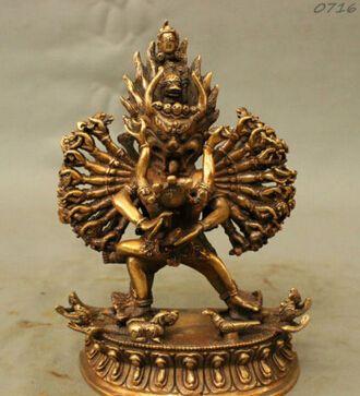 Bi003434 Китайский Бронзовый Тибетский Буддизм Яма Dharmaraja Ямантака Яб-Юм Статуя Будды