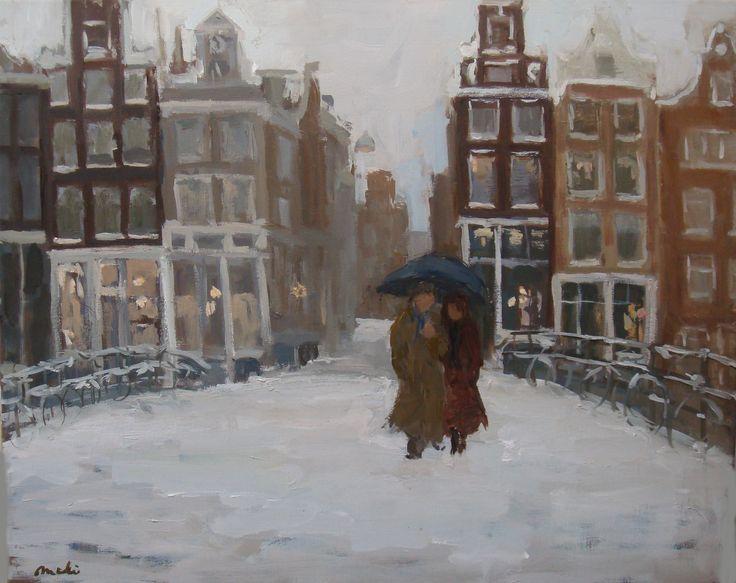 The bridge in front of her studio. Sneeuw in amsterdam
