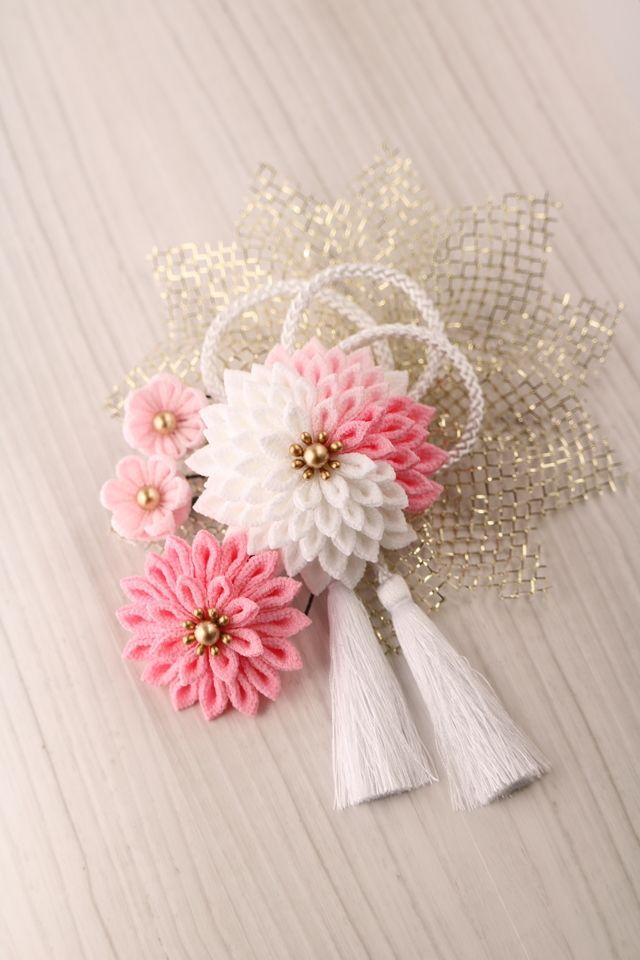 【白ピンク】春色のかんざし ★ つまみ細工