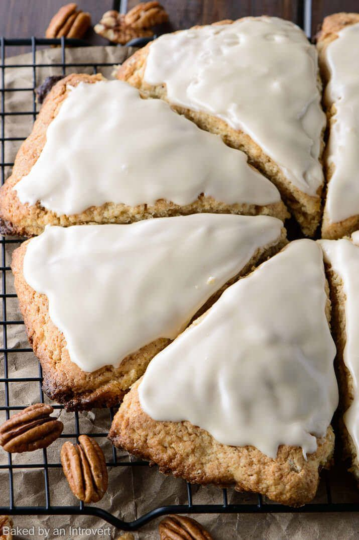 Impress your guests with this quick and easy recipe for Glazed Maple Pecan Scones. Celebrate fall flavors with this delightful breakfast.