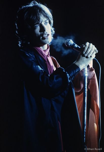 Mick Jagger performing in Altamont, 1969 (photo by Ethan Russell).