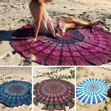High-quality Bohemian Style Thin Chiffon Beach Yoga Towel Mandala Round Bed Sheet Tapestry Tablecloth Silk Scaf - NewChic Mobile.