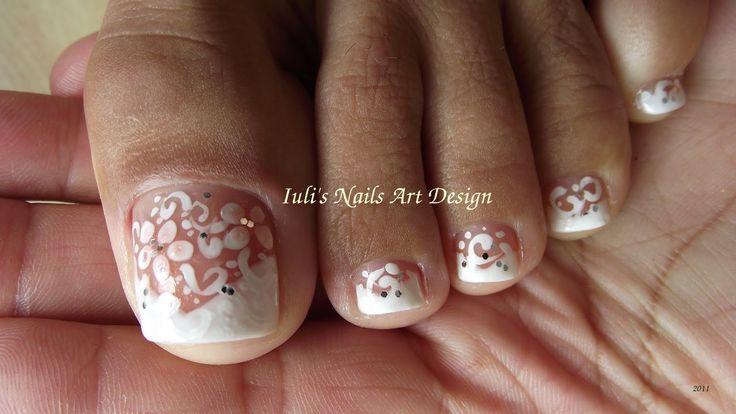 Wedding Toe Nail Art Design White on White French pedicure art design