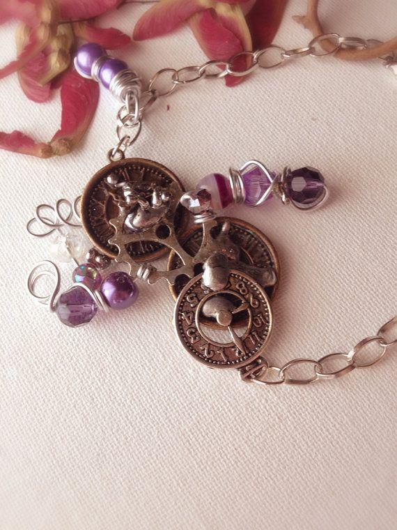 steampunk bronze silver purple necklace bracelet by EmeraldsDreams, $46.00