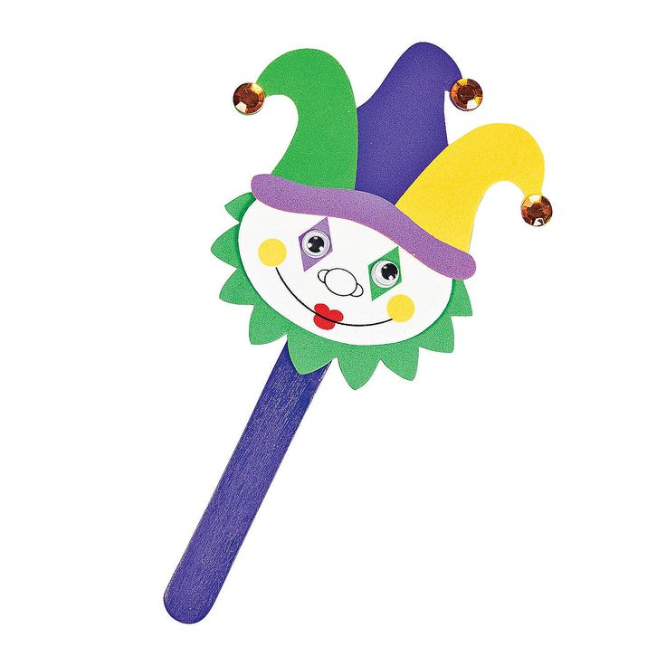 Mardi Gras Kids Crafts Part - 30: Mardi Gras Jester Puppets Craft Kit - OrientalTrading.com