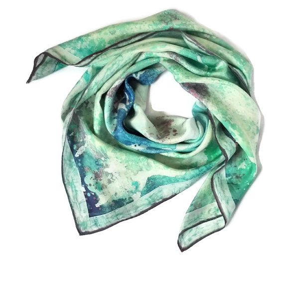 Batik art Large square scarf Silk scarf Silk by SilkForPassion