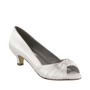 """http://www.sexyshoes.co.nz  Style: Becky (D) Material: Satin  Colour: White  Dyable: Yes  Height: 1 3/4"""" Sizes: 6-12 $159"""