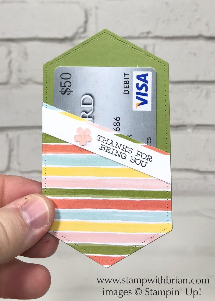 Stitched Nested Labels Dies, Stampin' Up!, Brian King, pocket for gift card or business card