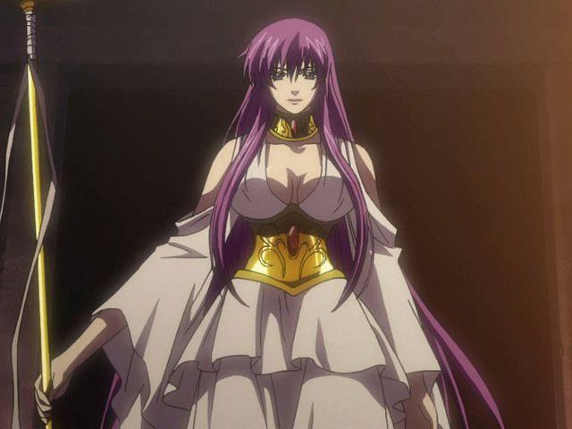 La reincarnazione della dea Atena. capelli lunghi e viola, bellissimi, corpo splendido.