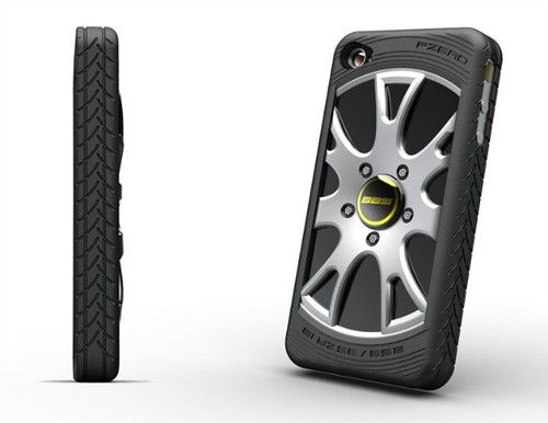 New 3D Racing Car Wheel Rubber Bumper Case Back Plate Rigid PC For iPhone 4 4S