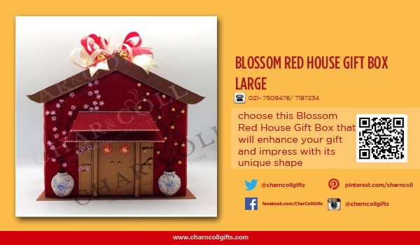BLOSSOM RED HOUSE GIFT BOX LARGE | Celebrate the Chinese New Year! Share the proesperity and happiness | Order now : www.charncollgiftS.com | 021-7509476 / 021-7197234 #ChineseNewYearGifts #ChineseNewYear