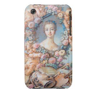 Madame de Pompadour François Boucher rococo lady iPhone 3 Case-Mate Case #madame #pompadour #pastel #portrait #boucher #Paris #France #classic #art #custom #gift #lady #woman #girl