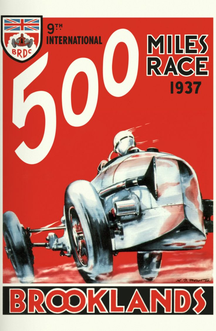 Cars silver racer poster 2 - Brooklands Brooklands Was The Home Of Speed Brutal Vehicles Speedy Motorcycles And The Most Amazing Aircraft The Stylish Posters Reflect This Excitement
