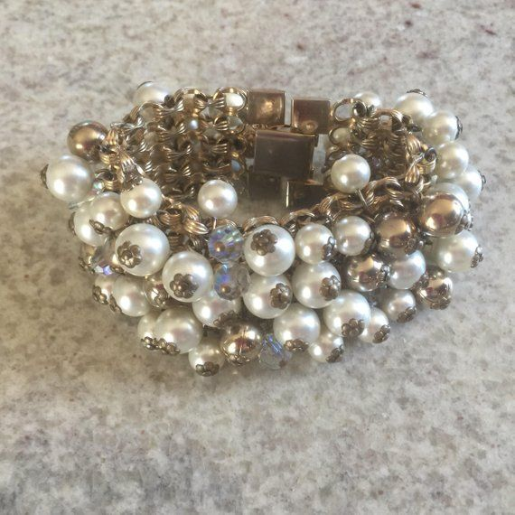 Faux Pearls Bangle Gold tone Faux Pearls Bracelet Wide Faux Pearls Bracelet