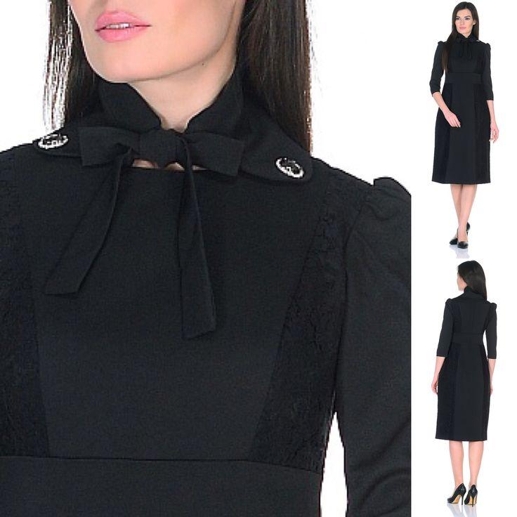 Красота - в деталях! Съемный воротник со стразами. Элегантное чёрное платье к новому году. Вставки из гипюра.      Платье Новый год гипюр dress mesh midi msls