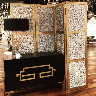 Zhin II Sideboard currey and company asian design black and gold storage furniture dining room rectangular shape doors