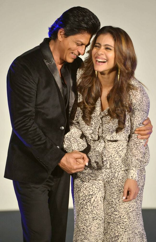 Shah Rukh Khan and Kajol on stage at the launch of #Gerua song from
