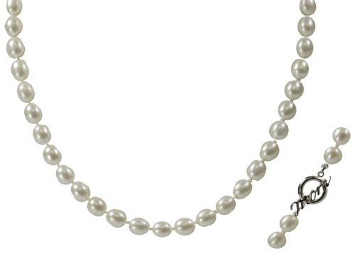 """18"""" 7-7.5mm Freshwater Pearl Necklace w/Sterling Silver MOM Toggle at http://www.pearls.com"""