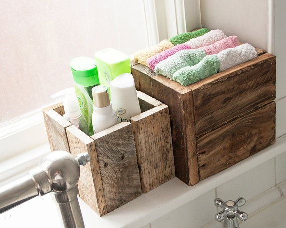Rustic Wooden Box Bundle Bathroom Storage Garden by PalletablesUK