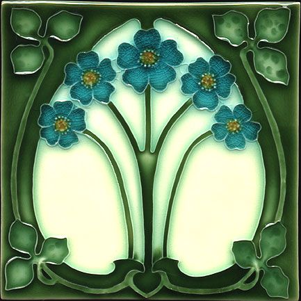Historic Tiles - Moulded Art Nouveau Tiles - Forget-Me-Nots