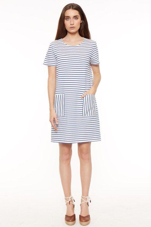 Blauw witte streep jurk