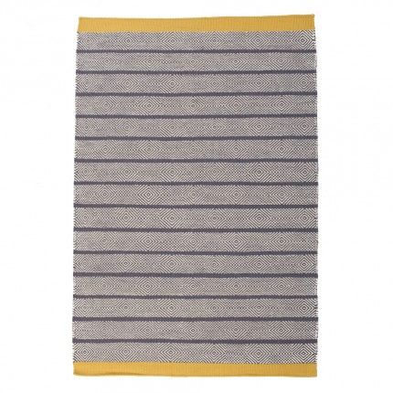 Geometric Reversible Wool Rug With a Canary Yellow Accent