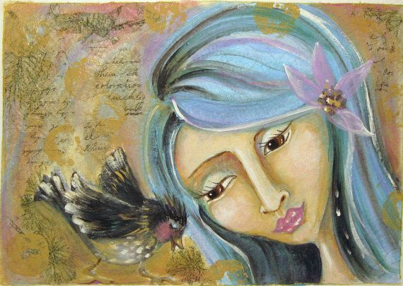 Art print whimsical art girlbird Kindred by InspirationOlogy