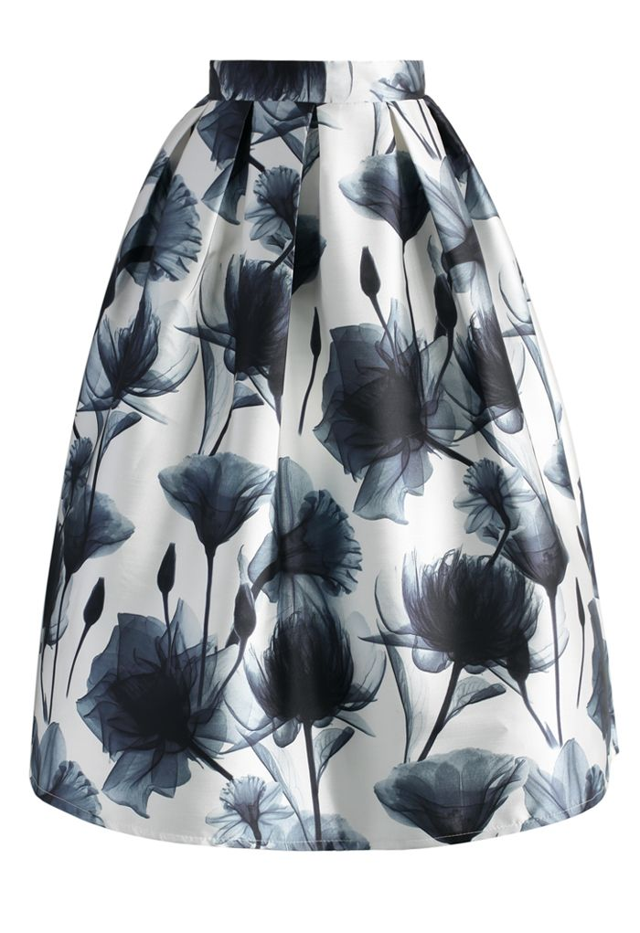 Lotus Ink Painting Printed Midi Skirt - CHICWISH SKIRT COLLECTION - Skirt - Bottoms - Retro, Indie and Unique Fashion