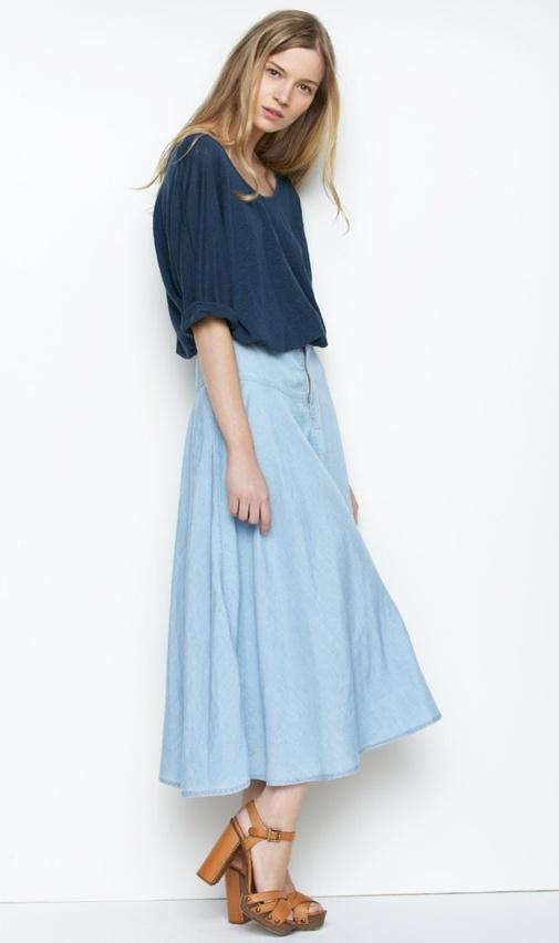 Chambray: Midi Skirts, Full Skirts, Spencer Denim, Long Skirts, Outfit, Denim Midi, Denim Skirts, Long Jeans Skirts, Maxi Skirts