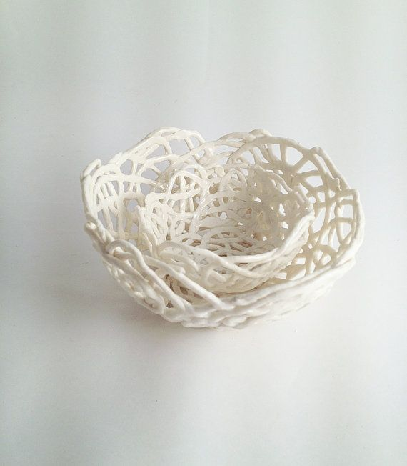 2 Porcelain Paperclay Filigree Nesting  Bowl in white by lofficina, €35.00