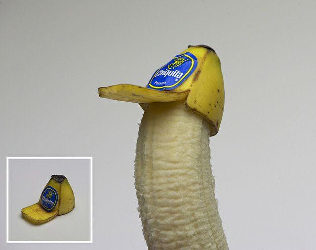 Brock Davis Plays with his Food: Mo'N Davis, Trucker Hats, Brock Davis, Head Of Garlic, Bananas Hats, Peel Trucker, Bananas Peel, Food Art, Kid