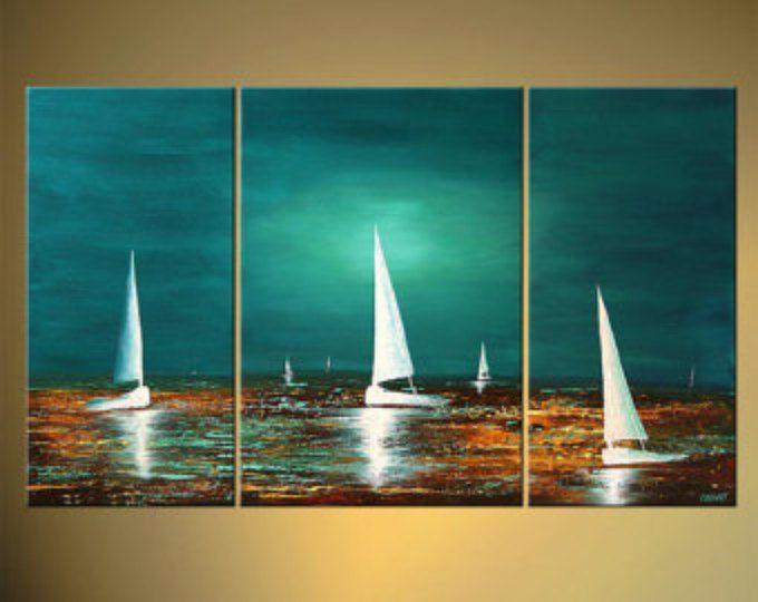 """Paesaggio marino dipinto 50 """"x 30"""" testurizzati originale arte contemporanea di barche a vela astratto acrilico di Osnat - su ordinazione"""