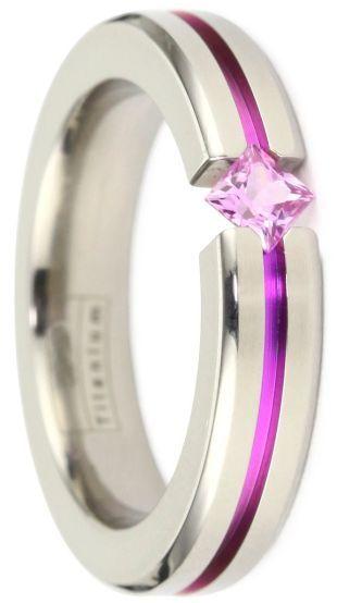 Women's grey titanium pink sapphire ring