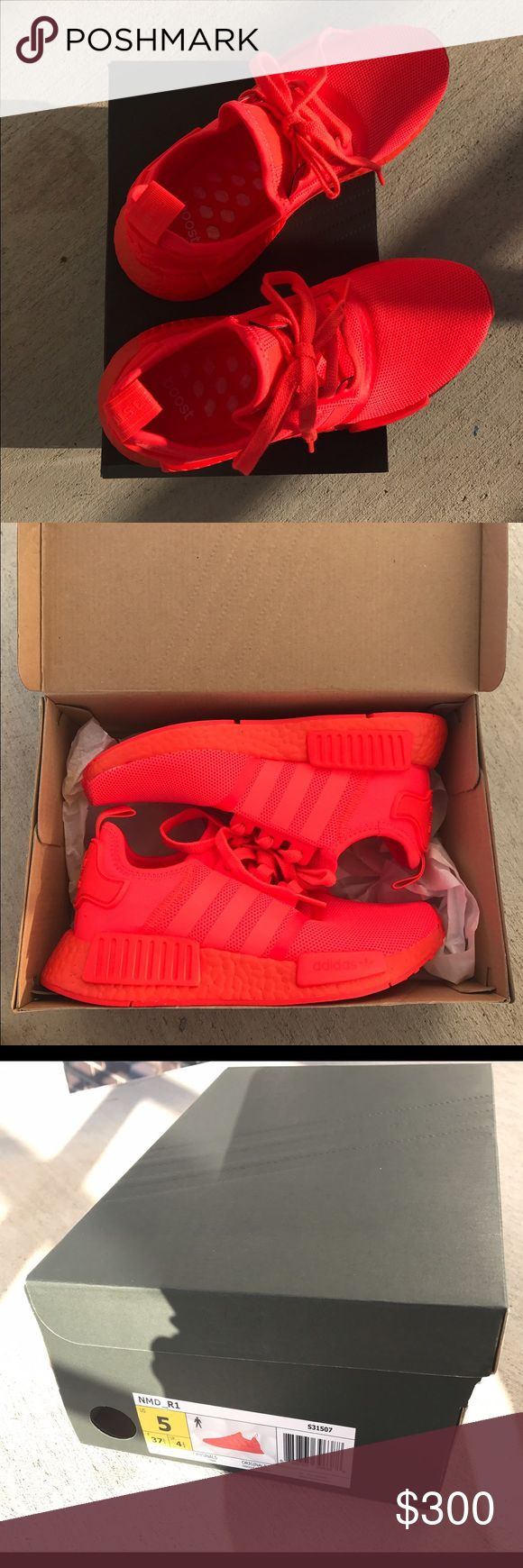 BRAND NEW Adidas NMD R1 2017 Solar Red Size 7 BRAND NEW Adidas NMD R1 in Solar Red (neon red/orange) Men's Size 5/Women's Size 7. These were purchased directly from Adidas.com on Feb 27 and sold out within minutes. Mint condition, never worn. Adidas Shoes Athletic Shoes