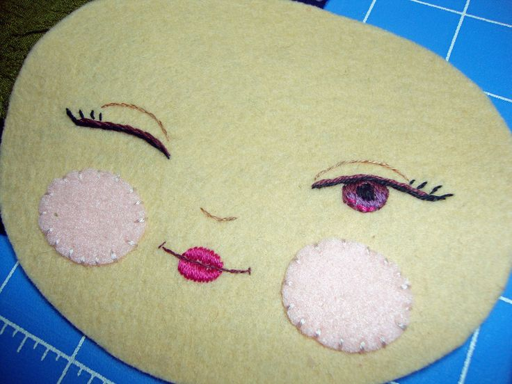 Machine Embroidery Dolls Face perfect for Doll Making