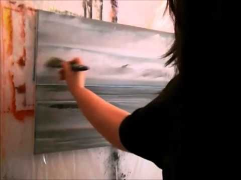 Meer, Nordsee bei Ebbe, Wolken malen – Acrylmalerei Demo, acrylic painting – YouTube