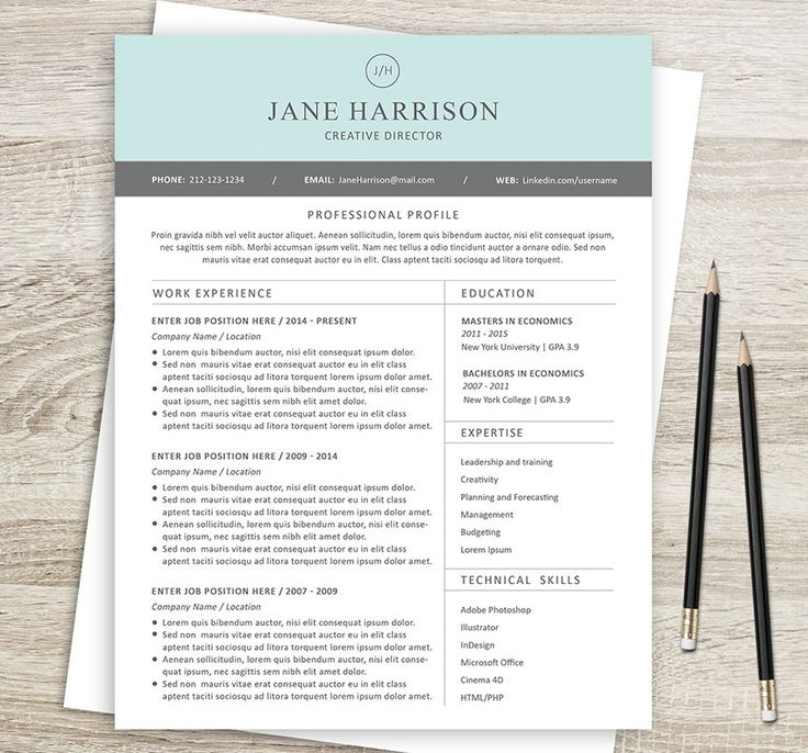 27 best Etsy Resume Templates - Etsy CV Templates images on - resume templates on word 2007
