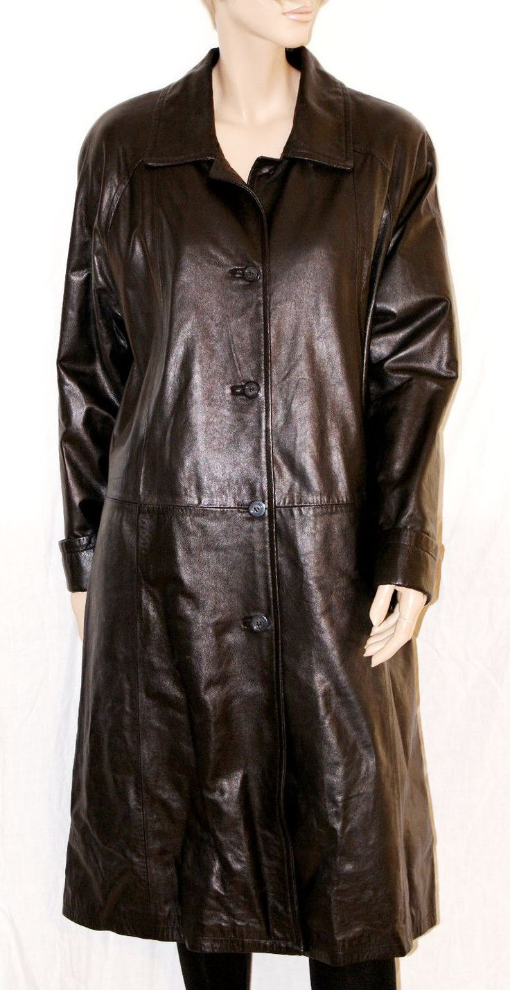 Gorgeous & Gothic Black Leather Woman Coat Made in Italy Trench Lungo…