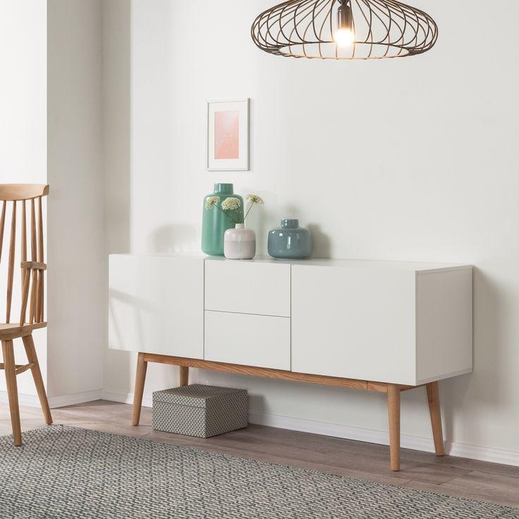 Dressoir Lindholm III - witte look/massief eikenhout