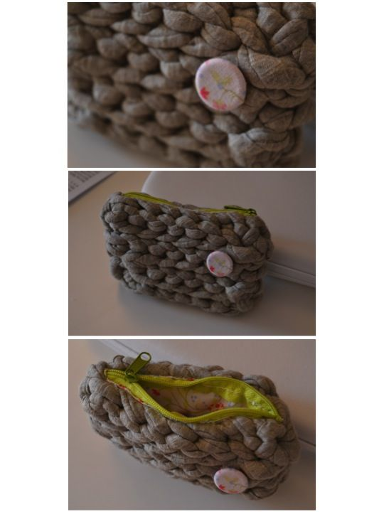 xxl crochet wallet with lining, zip and ornament made ​​with a lined button