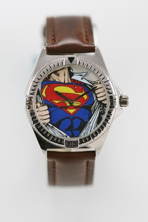 Warner Bros Superman Watch Mens Stainless Silver Water Res Brown Leather Quartz
