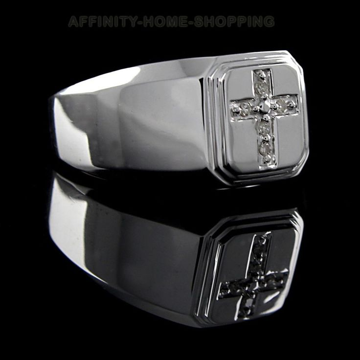 Genuine Diamond Sterling Silver Cross Men's Ring Size 8, 9, 10 #AffinityHomeShopping #Cluster